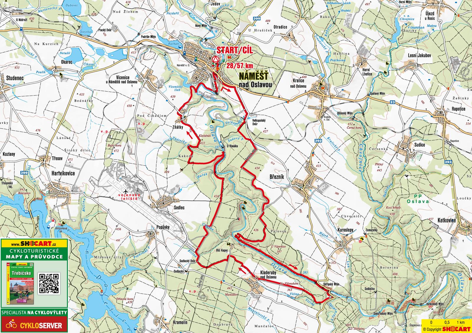 mapa závodu itms náměšťský cyklomaraton 2018